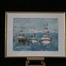 Aquarelle de bateaux de pêche
